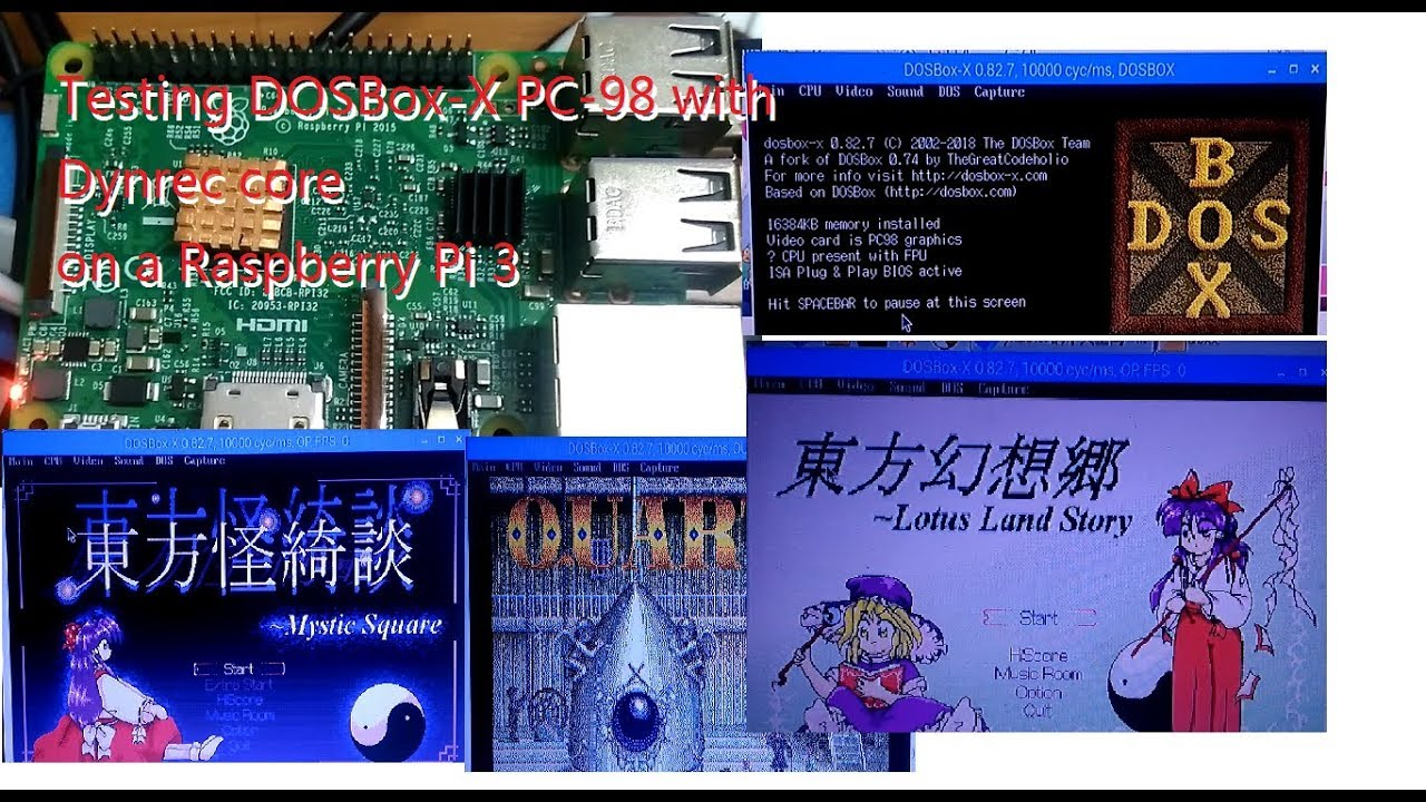Testing DOSBox-X PC-98 Dynrec core on Raspberry Pi 3