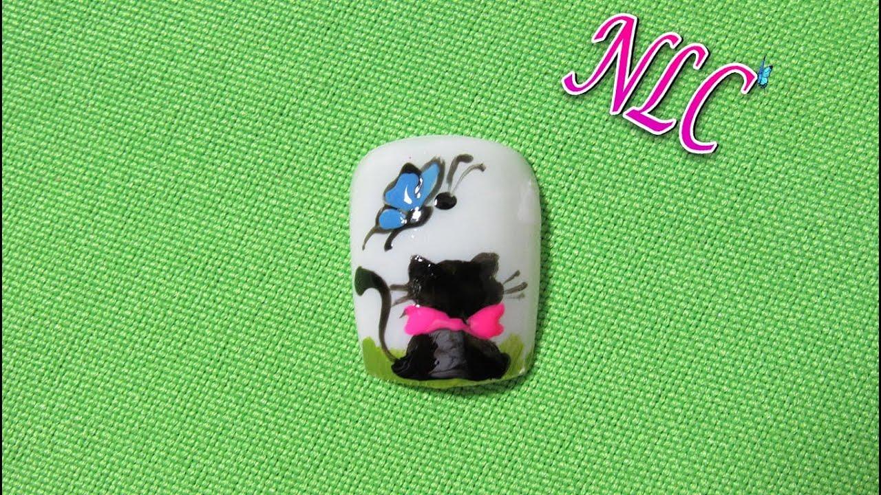 Decoraci n de u as gata y mariposa cat and butterfly - Decoracion con mariposas ...