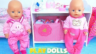 Baby Born Twins Dolls Morning Routine in Dollhouse!