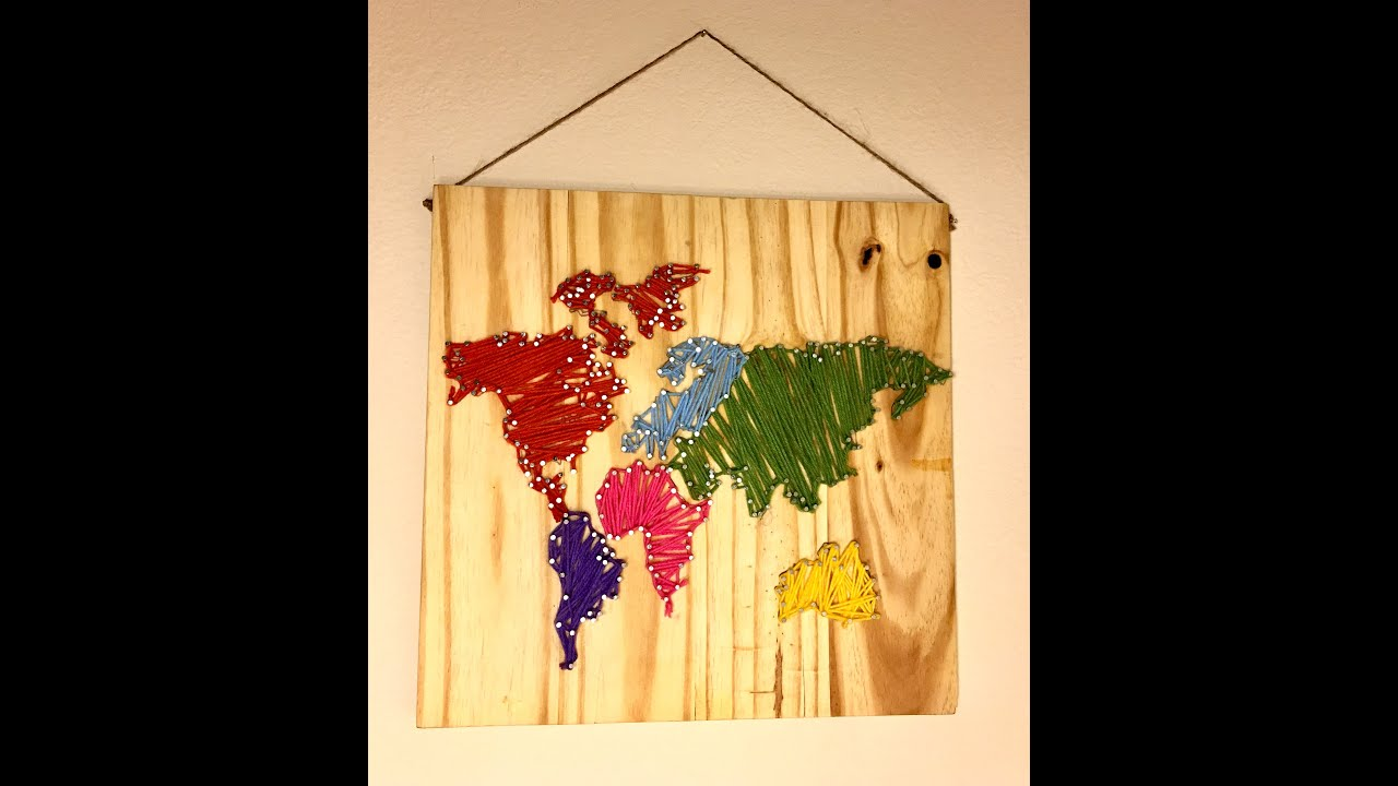 DIY World Map Wall Nail String Art [timelapse] - YouTube