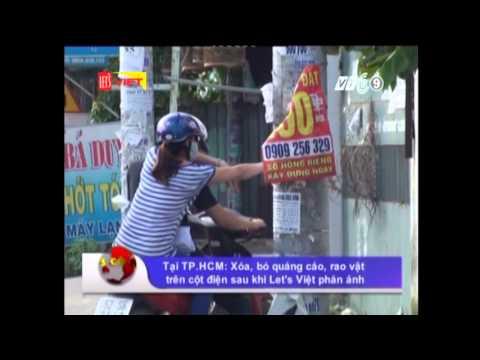 Tại TP HCM Xóa, bỏ quảng cáo, rao vặt trên cột điện sau khi Let's Việt phản ánh