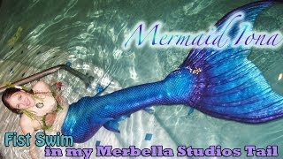 First Swim in my Merbella Studios full silicone mermaid tail - Mermaid Iona
