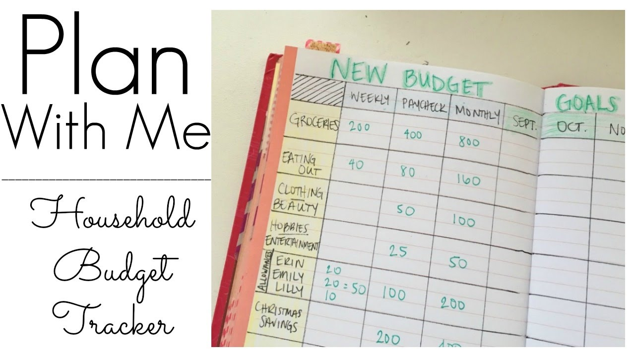 tracking my household budget bujo layout youtube