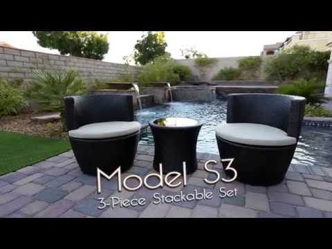 Luxe Furnishings Model S3 - Stackable 3-Piece Outdoor Furniture Set