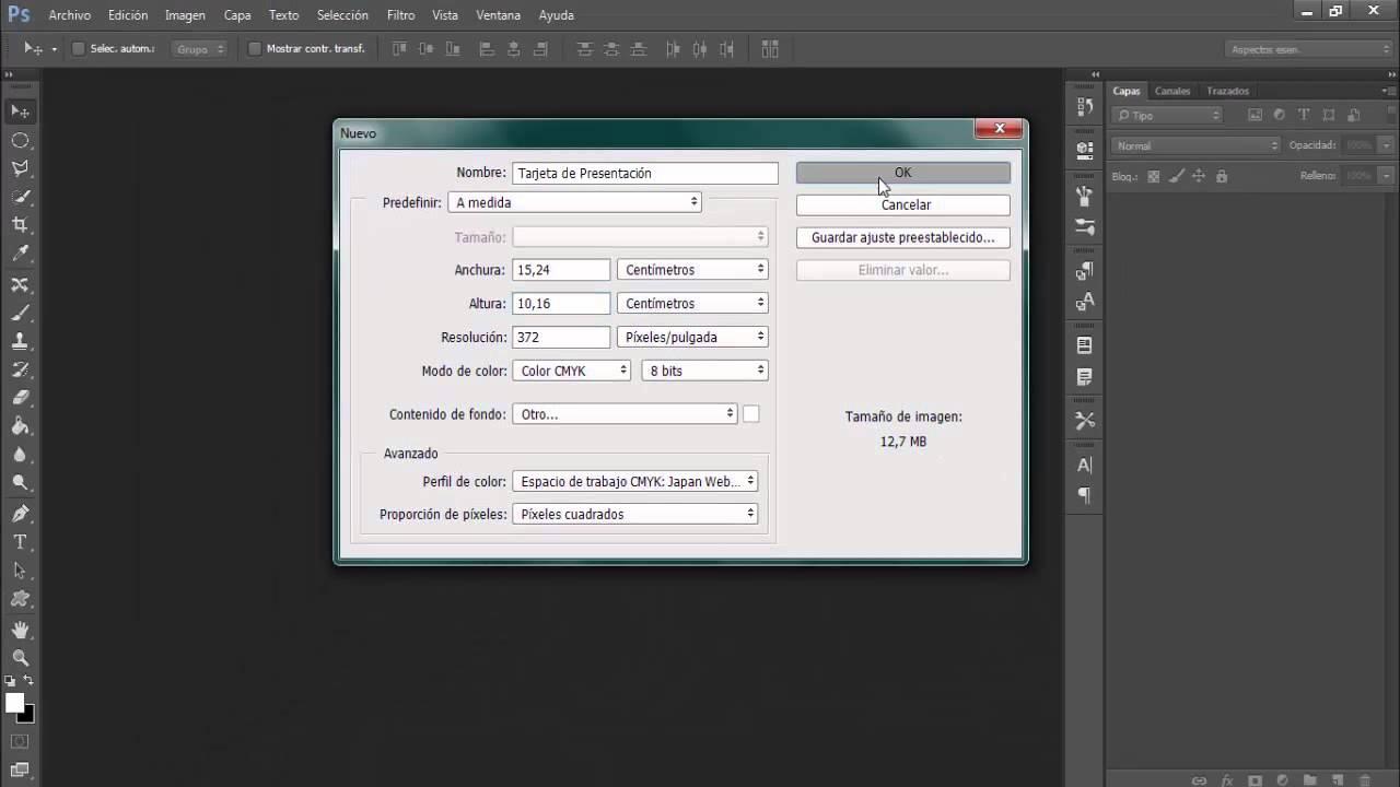 Medidas para una tarjeta de Presentación | Adobe Photoshop - YouTube