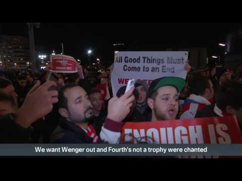 Arsenal fans protest outside the Emirates