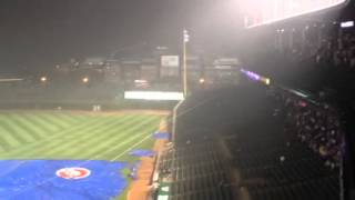 Cubs grounds crew having a little tarp trouble during rain delay