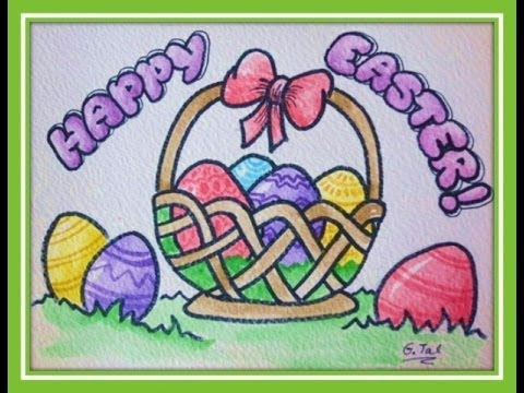 How To Draw Easter Stuff Eggs In Basket Easy Step By Or Download Pattern