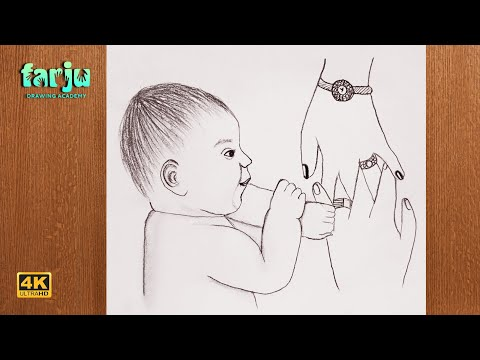 How to draw a cute baby holding parents hand | Daw A cute baby