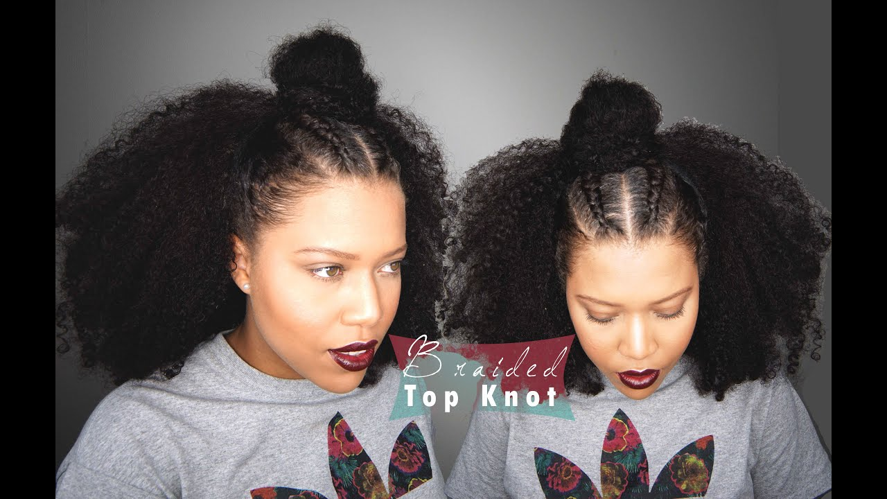 Samurai Braided Top Knot For Curly Hair - Half Up Half ...