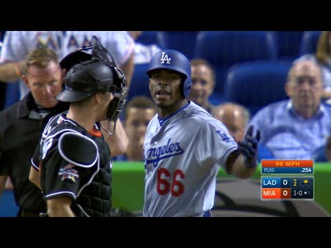 LAD@MIA: Tempers flare after Urena nearly hits Puig