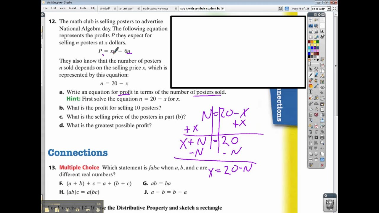 Connected Math Say It With Symbols Inv 2 Ace 12 Youtube