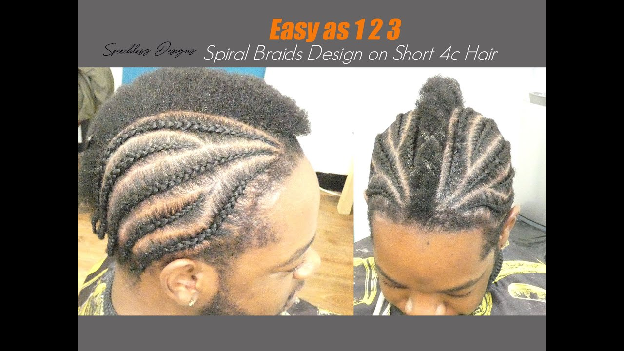 HOW TO DO EASY & SIMPLE SPIRAL BRAIDS DESIGN ON SHORT 4C HAIR