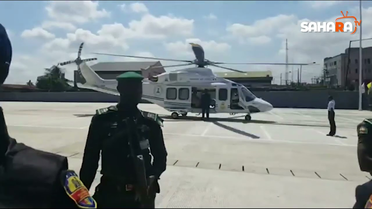 Buhari's Aircraft Leaving Scene Of Train Station Commissioning In Lagos