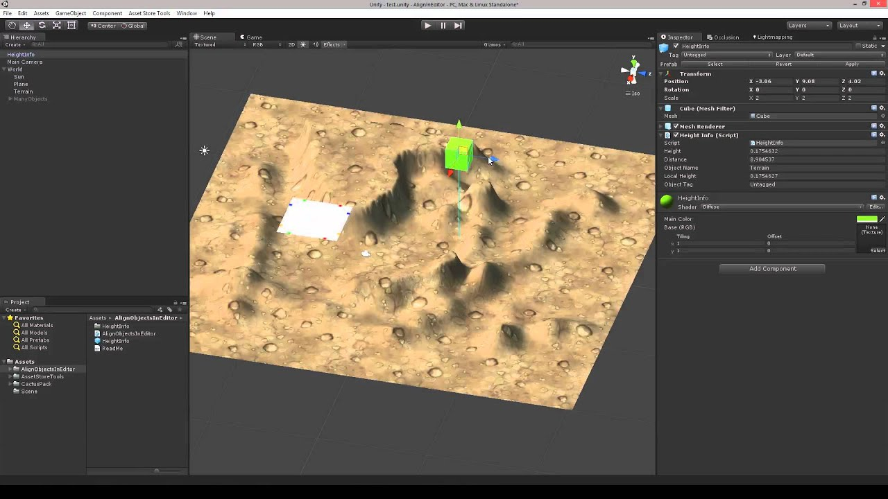 Get height - Align Objects In Editor - Unity Editor