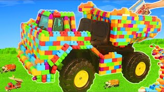 Download Fire Truck, Police Cars, Train, Excavator, Tractor & Garbage Trucks LEGO Toy Vehicles for Kids Mp3 and Videos