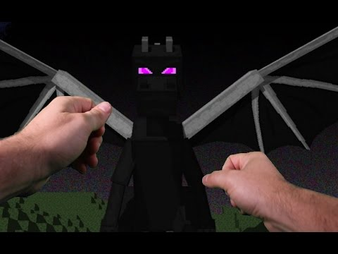 realistic minecraft attacked by the ender dragon in real