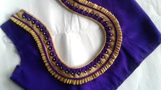 very beautiful blouse back neck design cutting and stitching