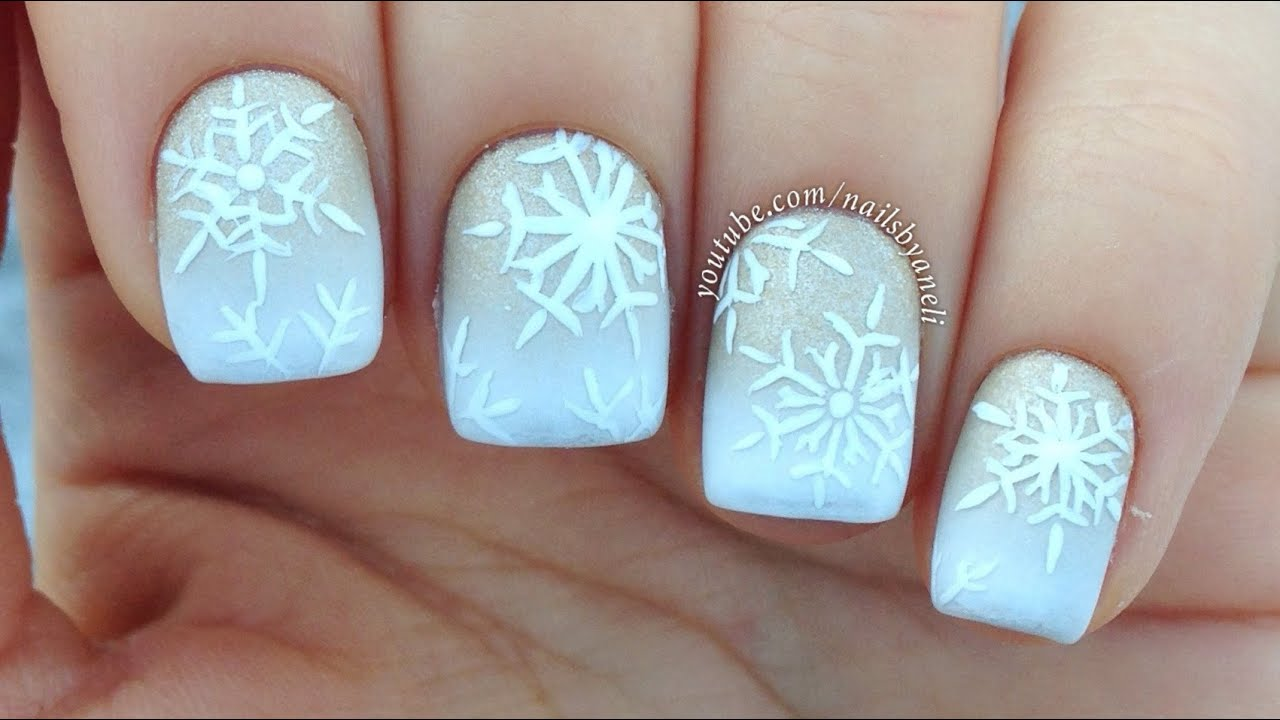 How To how to make snowflake nail art : Nail Art Tutorial: White & Gold Gradient + Snowflakes - YouTube