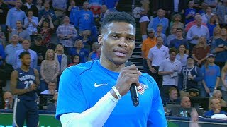 Russell Westbrook Emotional Moment As He Gives Nick Collison A Tribute with Thunder Crowd!