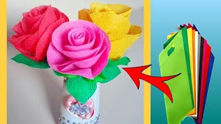 DIY: How to make rose flower with waste shopping bag 🌹 very easy hand craft tutorial 😊