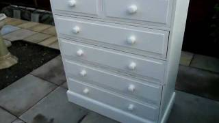 Large Aged White Painted Distressed Chest Of Drawers