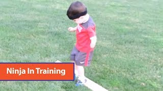 Toddler Completes Obstacle Course