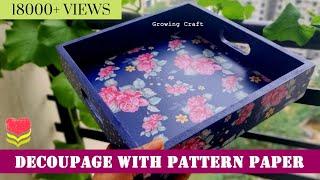 377. Decoupage on tray*Decoupage for beginners*decoupage on wood*Handmade gifts