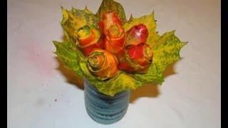 Jak zrobić kwiaty z liści, Leaf Flower...