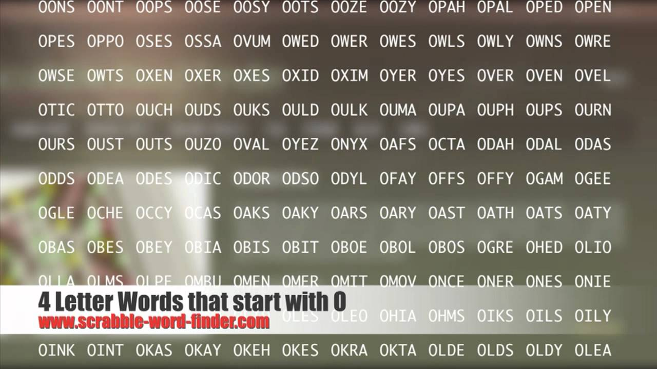 4 Letter Words That Start With O Youtube