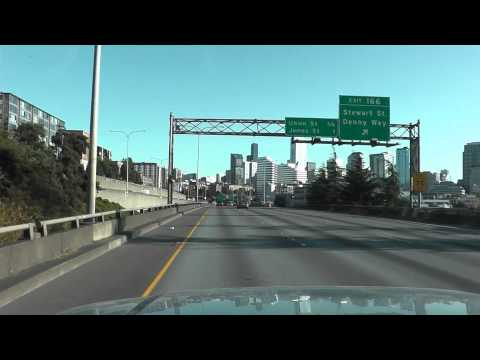 Driving through Seattle, WA on I-5