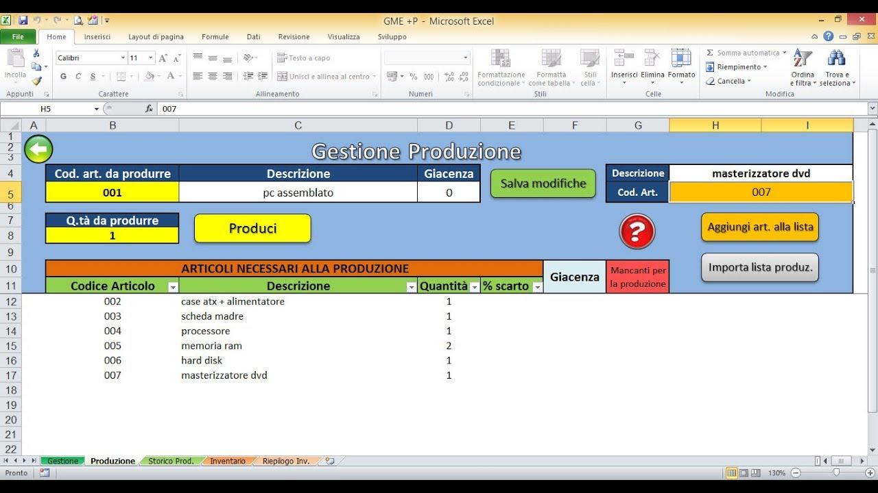 Gestire La Produzione Con Un File Excel Gme