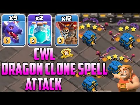 New Update Dragon Clone Attack 2019! 9 Dragon 2 Clone Spell Smashing 3Star TH12 Base | Clash Of Clan