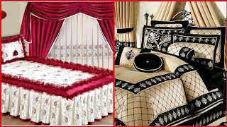 Top Class Designer Bedsheet Designs With Matching Curtains Style/Bridal Bed Sheets+Curtains Designs