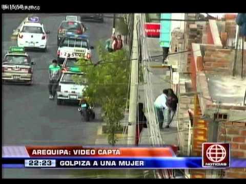 América Noticias - 141013 - Arequipa: cámara de vigilancia captó golpiza a mujer