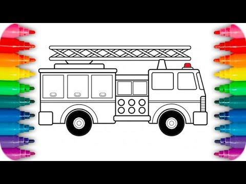 Dibuja y Colorea Camion de Bomberos - Aprendiendo Los Colores - YouTube