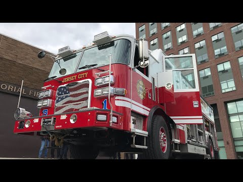 BRAND NEW JERSEY CITY FIRE DEPARTMENT RESCUE CO. 1 TRUCK ARRIVING AT QUARTERS FOR THE 1ST TIME IN JC