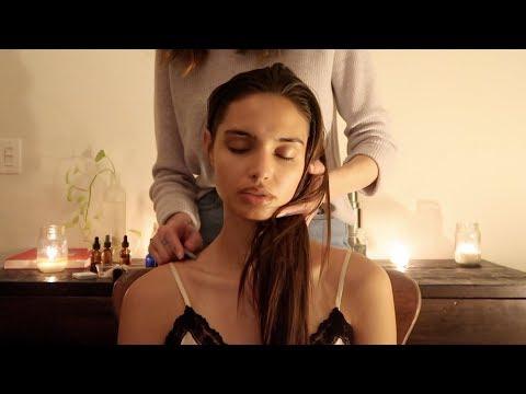 ASMR   Night massage with gua sha, herbs, natural oils (soft spoken)