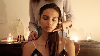 ASMR | Night massage with gua sha, herbs, natural oils (soft spoken)