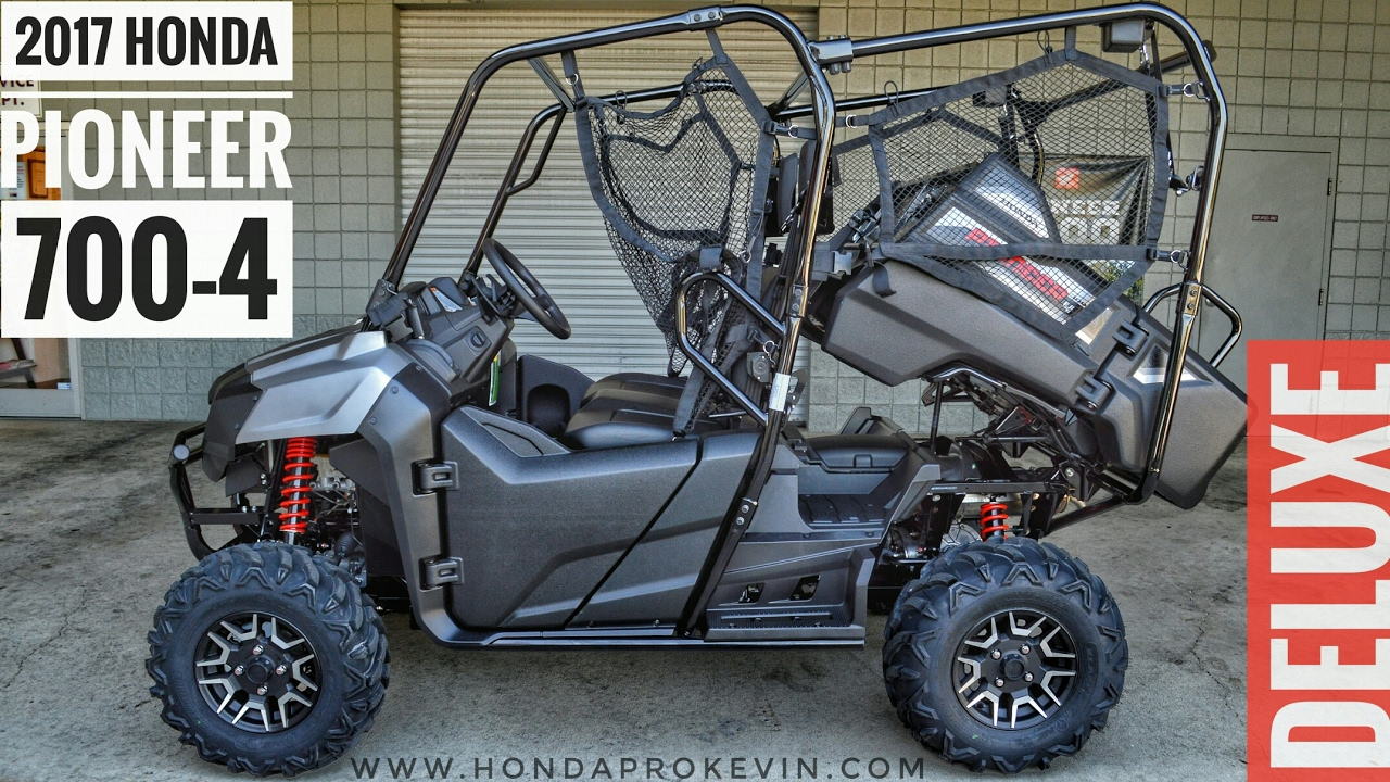 Honda Pioneer 700 4 Top Speed >> 2017 Honda Pioneer 700-4 Deluxe Walk-Around Video | Matte Silver | Review @ HondaProKevin.com ...