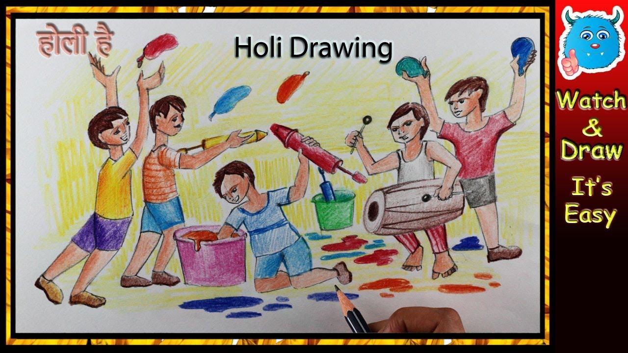 Kids Celebrating Holi Festival Drawing For Kids Youtube
