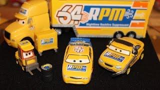 Mattel Disney Cars Piston Cup Team RPM (Petrol Pulaski Pitty, Crew Chief, Hauler & Racer) Die-casts