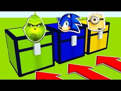 NE RENTREZ PAS DANS LE MAUVAIS COFFRE MINECRAFT !! Le Grinch, Sonic, Les Minions | Troll