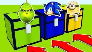NE RENTREZ PAS DANS LE MAUVAIS COFFRE MINECRAFT !! Le Grinch, Sonic, Les Minions   Troll