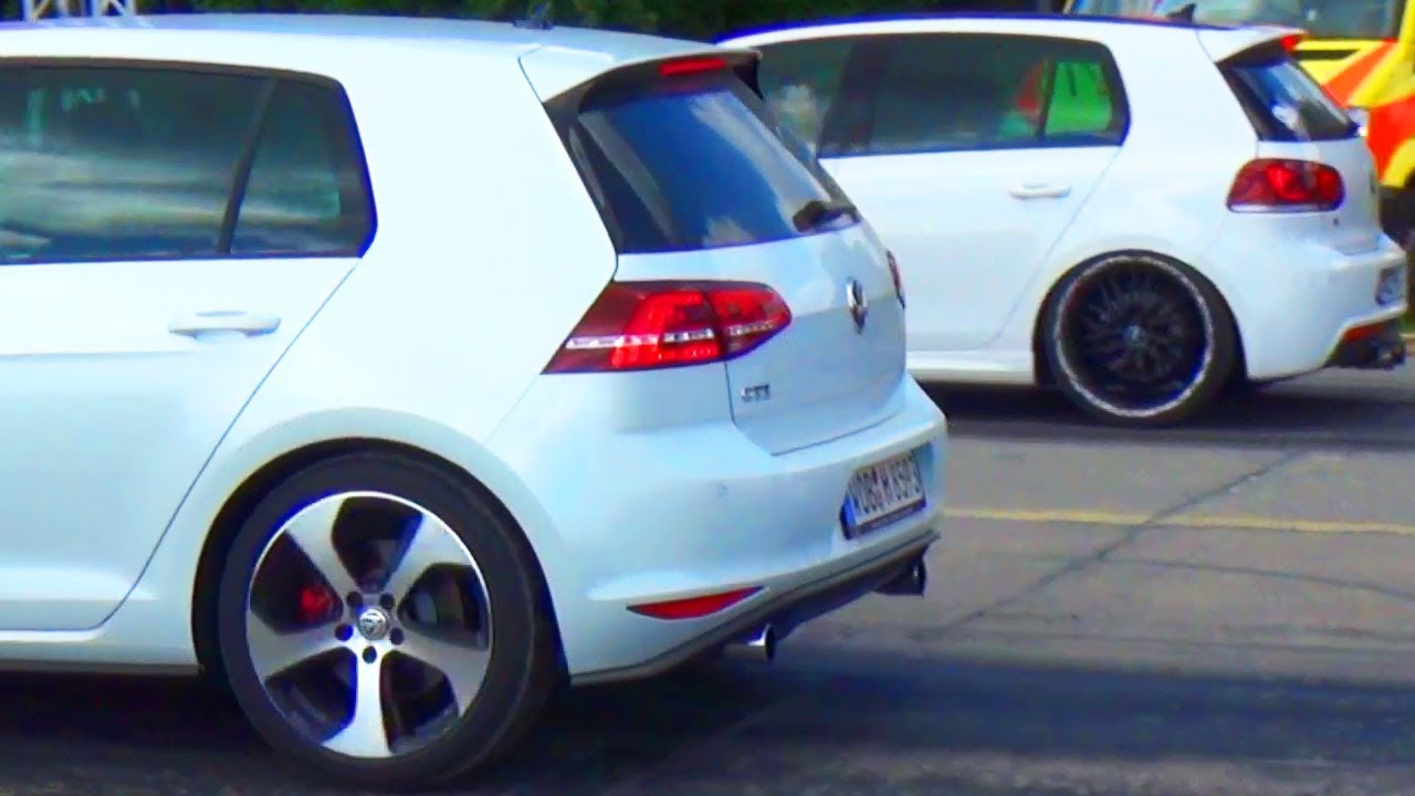 vw golf 7 gti vs golf 6 r drag race viertelmeile rennen acceleration beschleunigungsrennen youtube. Black Bedroom Furniture Sets. Home Design Ideas