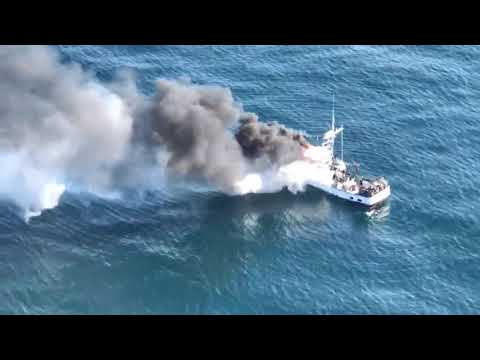 Coast Guard comes to aid of fishing boat Midori on fire offshore of Trinidad