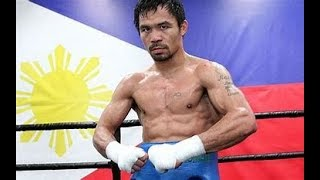 Manny Pacquiao & Sparring Partner Lydell Rhodes Who Will Be Playing Role Of Adrien Broner