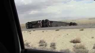 big rig truck blown over on hwy ca 395 4 25 14 full video