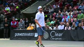 Mark Philippoussis hits a first serve right into Andy Roddick's groin