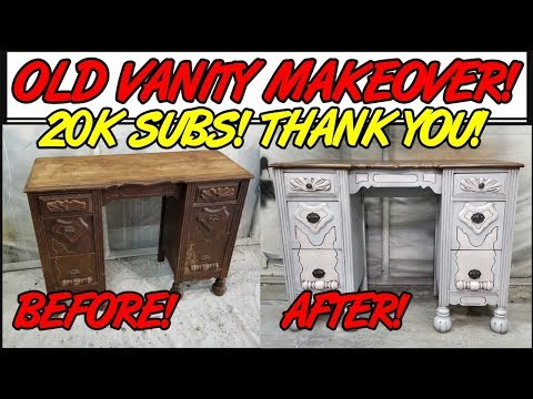 Antique Vanity Makeover with Dixie Belle Paint Company Chalk Paint, Brown Wax, and Stained Top